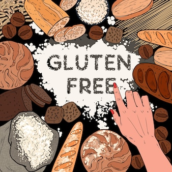 Gluten free background with flour, breads, pastries and bakery. pop art