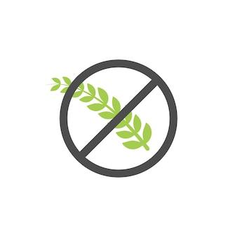 Символ значок вектора зерна без глютена. этикетка здоровой пищи пшеницы. знак диеты хлеба глютена.