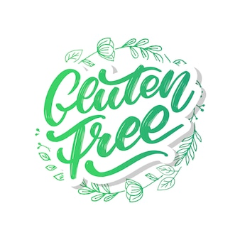 Gluten free label. hand drawn brush lettering.