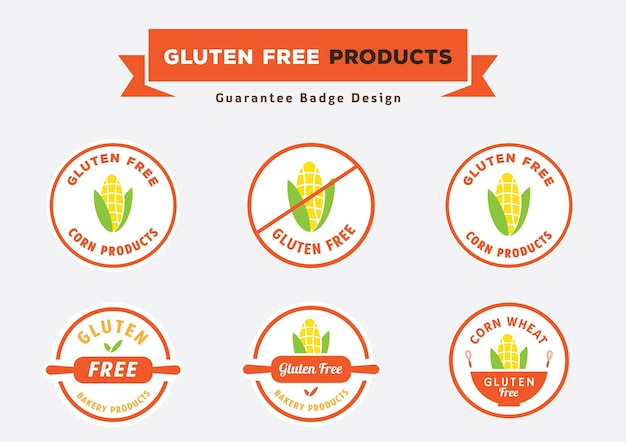 Gluten free products badge design with corn vector