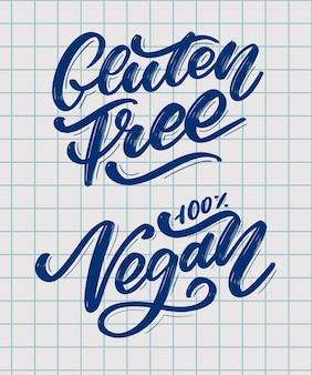 Gluten free and vegan hand drawn brush lettering.