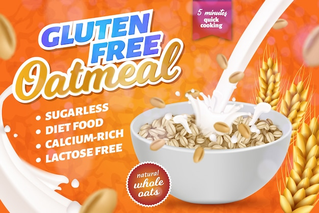 Gluten, lactose free oatmeal horizontal banner