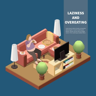 Gluttony concept with plump woman eating pizza at home 3d isometric  illustration