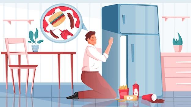 Плоская композиция обжорства с видом на кухню с мужчиной рядом с холодильником с фаст-фудом.