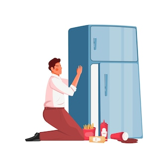 Concetto piatto goloso con uomo che abbraccia il frigorifero con cibo spazzatura sul pavimento