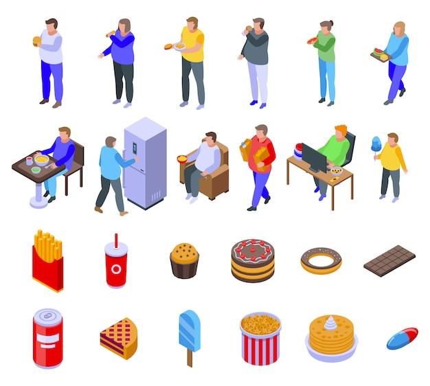 Gluttony icons set, isometric style