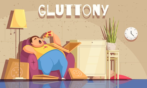 Gluttony  with obsessive eating and overweight symbols flat