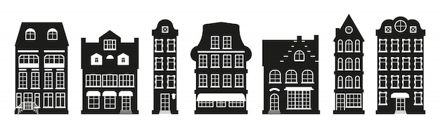 Glyph houses silhouette amsterdam set. graphic townhouse, european style. black urban and suburban home cottage.