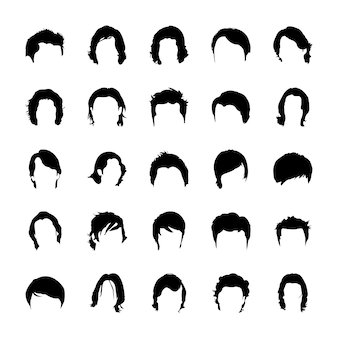 Glyph icon designs of hair