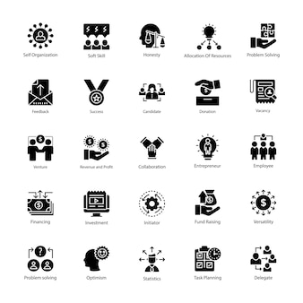 Glyph icons set of business management