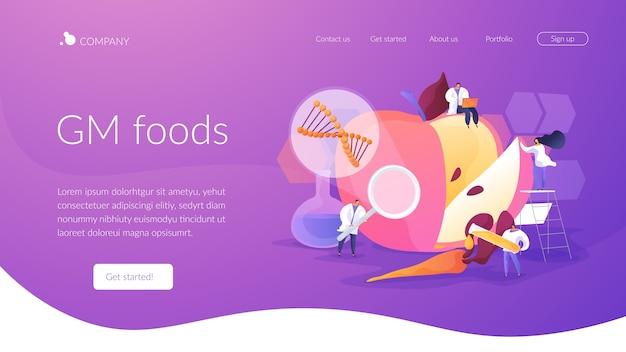 Modello di pagina di destinazione di alimenti geneticamente modificati
