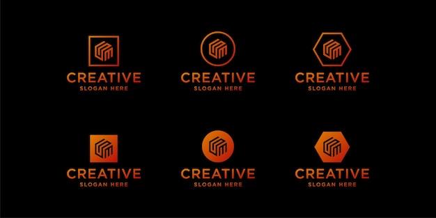 Gmロゴデザインテンプレートのイニシャル