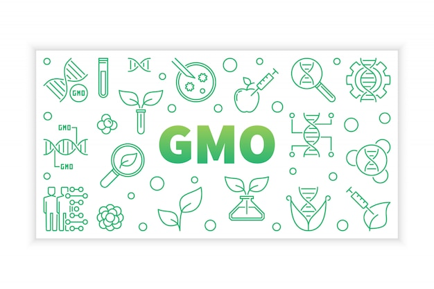 Gmo concept green banner in thin line style
