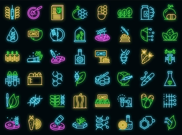 Набор иконок еды гмо. наброски набор гмо еда векторные иконки неоновый цвет на черном