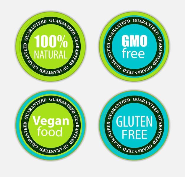 Gmo free, 100 natutal, vegan food and gluten label set