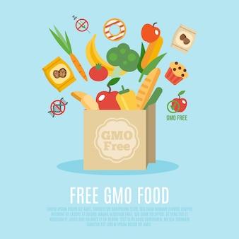 Gmo free concept flat