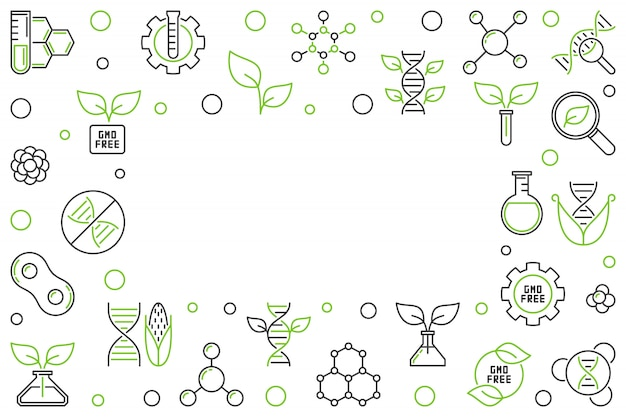 Gmo free concept vector horizontal outline creative frame or illustration