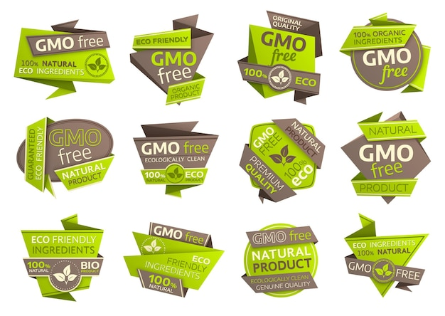 Gmo free icons with origami paper symbols of organic vegan food, eco green and natural healthy products. ecology ingredient isolated emblems design with fresh leaves and plant foliages