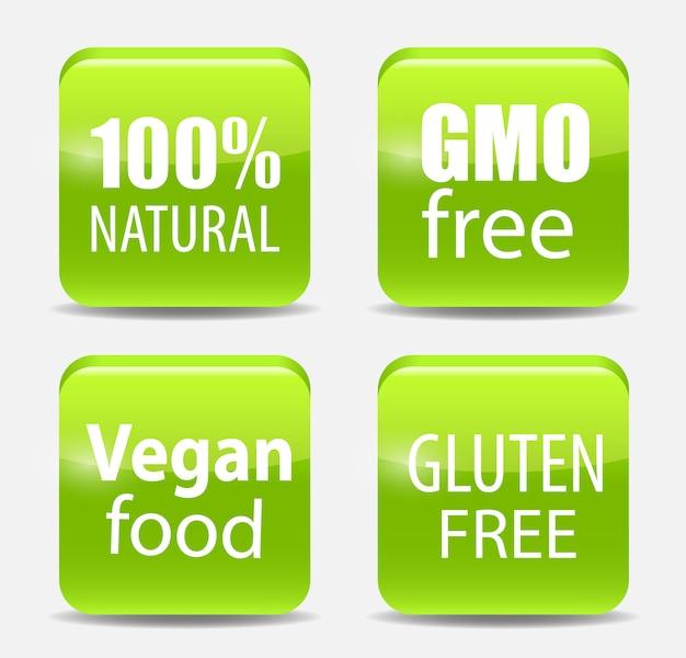 Gmo free,  natutal, vegan food and gluten  label set
