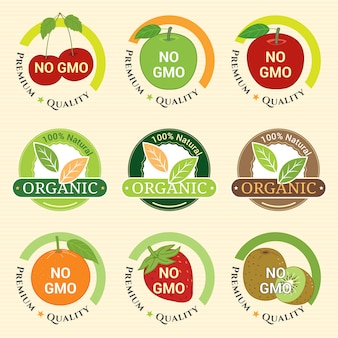 Gmo free non gmo and organic guarantee tag label emblem badges for fruits strawberry kiwifruit orange apple cherry