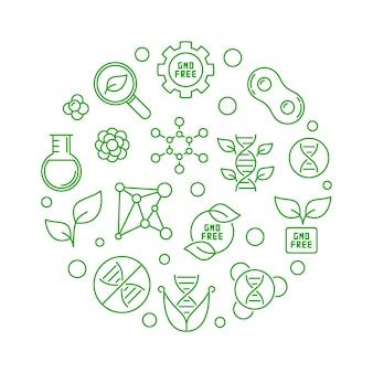 Gmo free round concept green line illustration