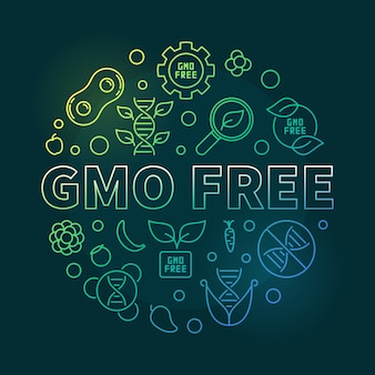 Gmo free vector round concept colorful outline illustration on dark background