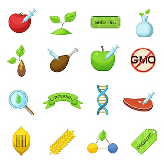 Gmo goods icons set