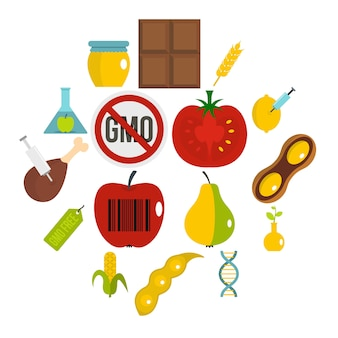 Gmo icons set in flat style