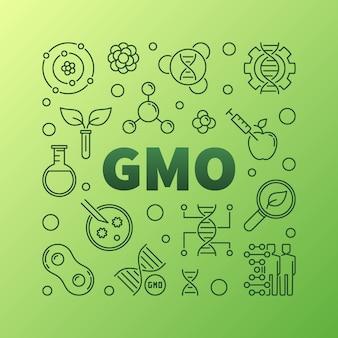 Gmo square concept outline icon illustration