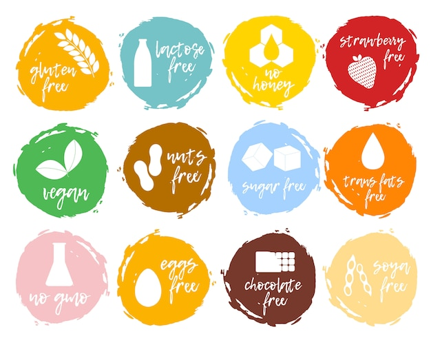 食品ラベルのセット-アレルゲン、gmoフリー製品。食物不耐症のシンボルコレクション。