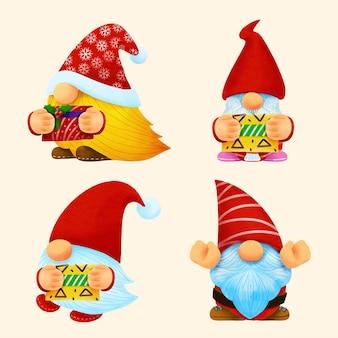 Gnome christmas watercolor set.illustration vector.