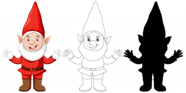Gnome in color and outline and silhouette in cartoon character on white background