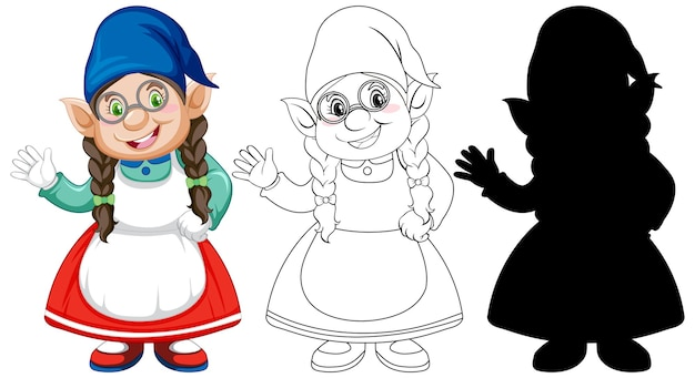 Gnome in color and outline and silhouette in cartoon character on white