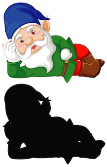 Gnome in color and silhouette in cartoon character on white background