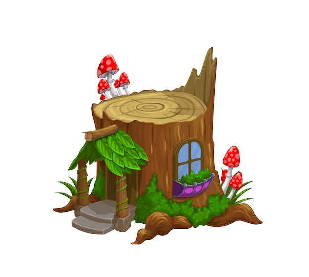 Gnome or dwarf house in old tree stub cartoon .