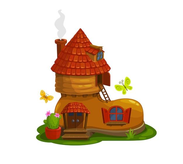 ブーツ漫画の形をしたノーム、ドワーフ、またはピクシーのおとぎ話の家。