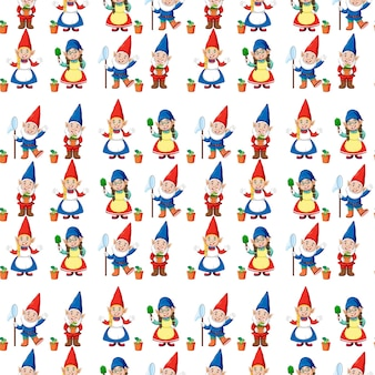 Gnome or dwarf seamless pattern with garden elements