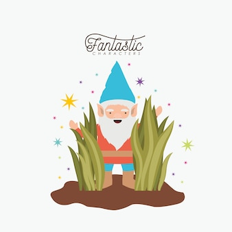 Gnome fantastic character coming out of the bushes