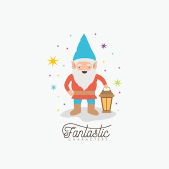 Gnome fantastic character with hand lamp