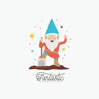 Gnome fantastic character with shovel and colorful sparks