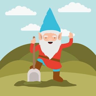 Gnome fantastic character with shovel in mountain