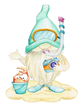A gnome, in fins and a mask, for scuba diving, holds a camera, a bucket, a crab.