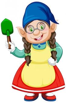 Gnome少女と白い背景の上の漫画のキャラクターで立った位置にシャベル