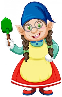 Gnome girl and shovel in standing position in cartoon character on white background