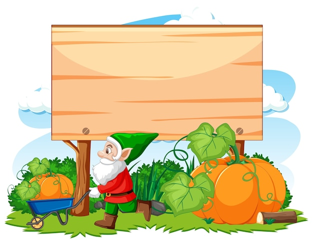 Gnome havest pumpkin with blank banner cartoon style on white background