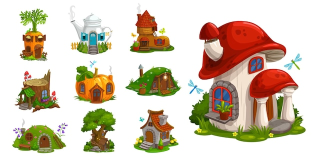 Gnome houses vector icons, cartoon fantasy building made of plants, vegetables and trees with green leaves. fairy, gnome or elf cute homes in pumpkin, mushroom, carrot, stump and pot isolated set