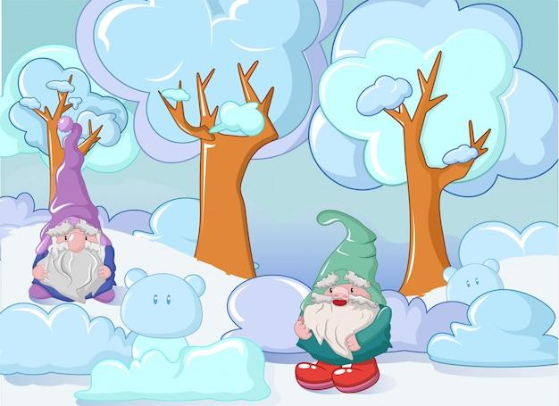 Гном в зимней концепции, мультяшном стиле