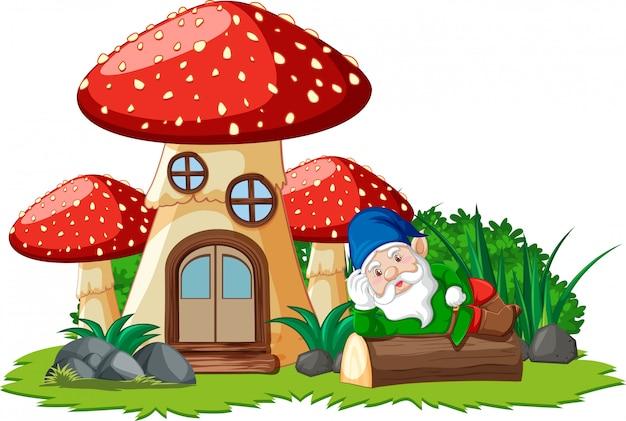 Гном лежал на пне рядом с грибным домом на белом фоне