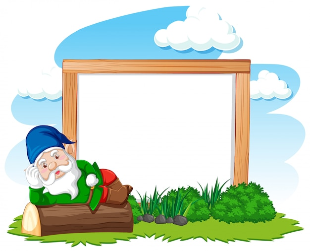 Gnome lying on stump infront of blank banner cartoon style on white background