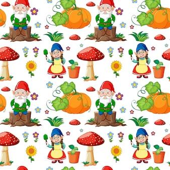 정원 요소와 그놈 또는 난쟁이 원활한 패턴